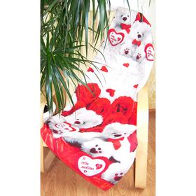 Полотенце банное вафельное, размер 150х80 см, цвет МИКС, принт медведи/сердце