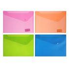 Папка-конверт на кнопке А4, 180мкм Neon Drive, микс