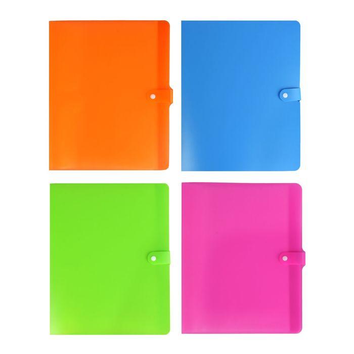 Папка с 20 прозрачными вкладышами А4, 420мкм Neon Drive, с застежкой, + стикер, микс