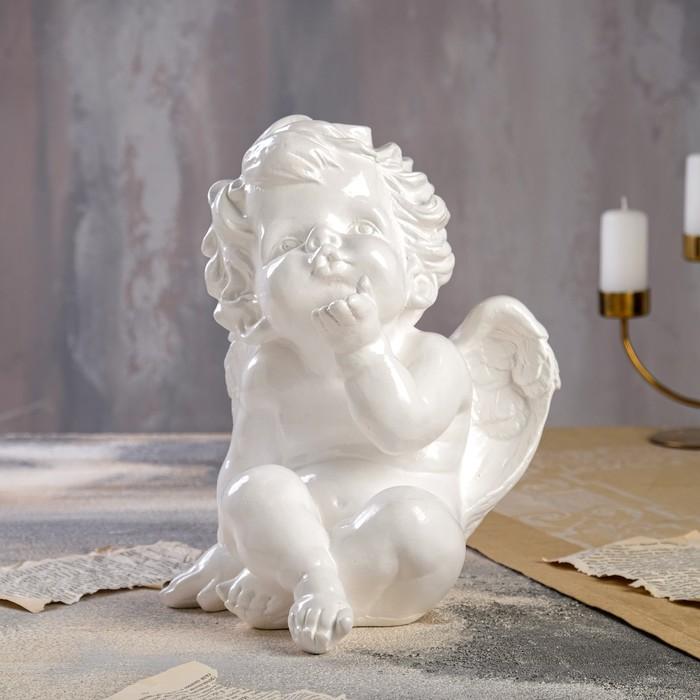 """Статуэтка """"Ангел сидит"""" белая, 30 см"""