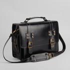 Портфель мужской, 1 отдел, 3 наружных кармана, длинный ремень, цвет коричневый