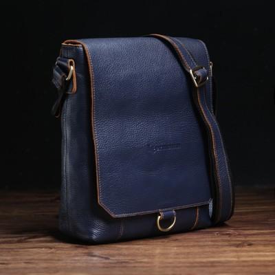 Сумка мужская, 1 отдел, наружный карман, длинный ремень, цвет чёрный