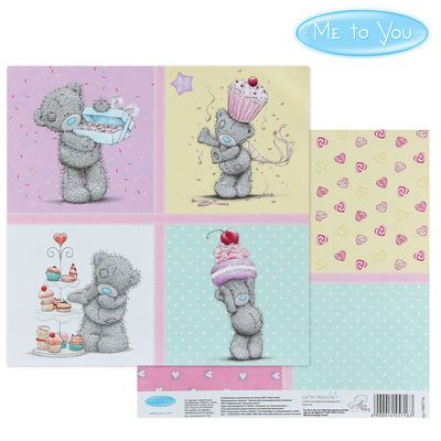 "Paper for scrapbooking ""Sweet gift"", 15.5 x 15.5 cm, 180 g/m2"