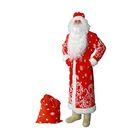 """Карнавальный костюм """"Дед Мороз"""", шуба, шапка, варежки, пояс, мешок, р-р 60-62"""