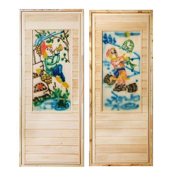 """Дверь для бани """" Резная вставка 2D"""", 170х80см"""