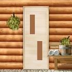 """Дверь для бани и сауны «Два стекла», 170х80см, """"Добропаровъ"""""""