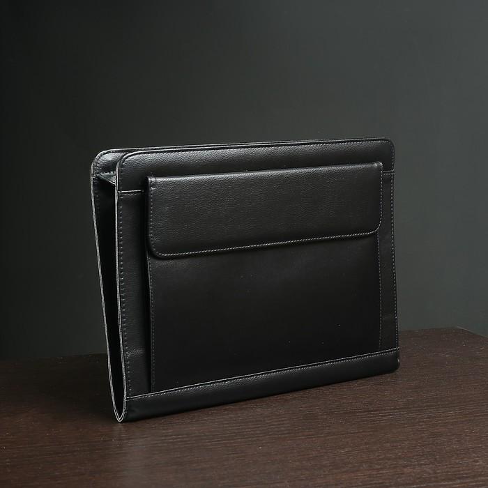 Папка деловая, 3 отдела на молнии, наружный карман, цвет чёрный