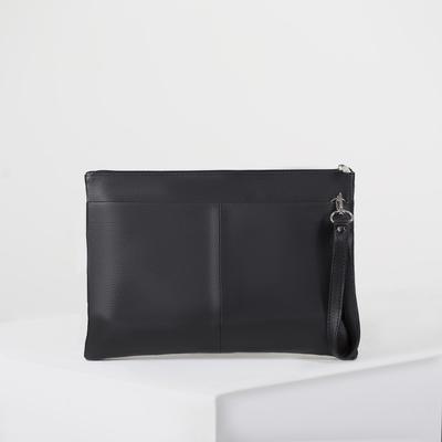 Папка деловая на молнии, 1 отдел, наружный карман, цвет чёрный