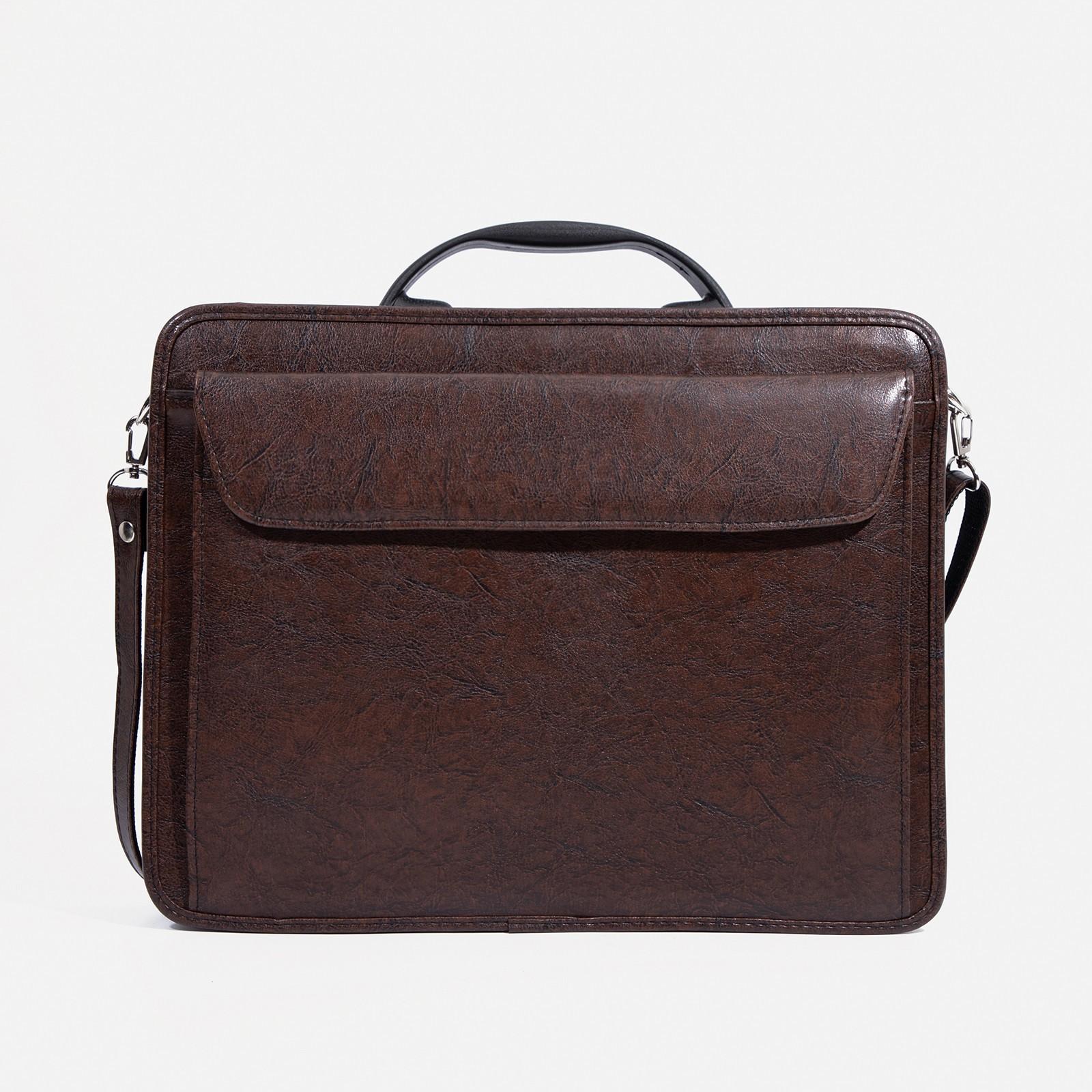 ac4e0a27ed64 Сумка-портфель мужская на молнии, 3 отдела, наружный карман, длинный ремень,