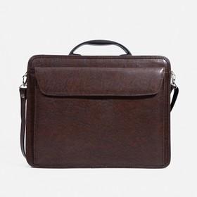 Сумка-портфель мужская на молнии, 3 отдела, наружный карман, длинный ремень, цвет коричневый