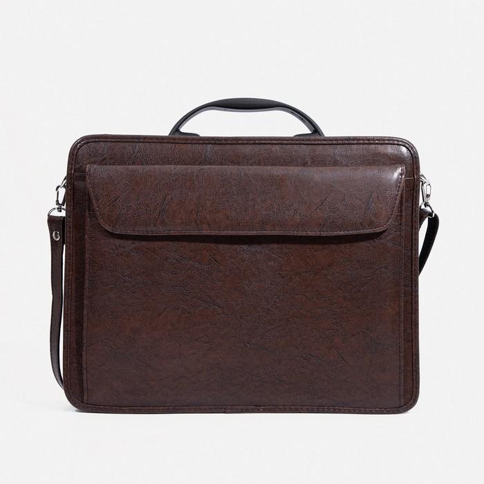Сумка-портфель мужская на молнии, 3 отдела, наружный карман, длинный ремень, цвет коричневый - фото 1675339
