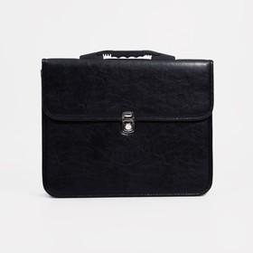 Сумка-портфель мужская на молнии, 2 отдела, цвет чёрный