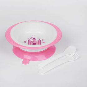 "Children's tableware set ""Princess"", 3 pieces: saucer on suction Cup 200 ml, spoon, fork, 5 months."