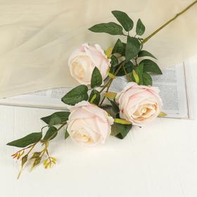 Artificial flowers rose three buds, light pink