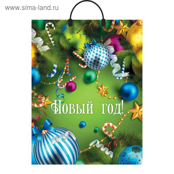 """Пакет """"Новогоднее веселье"""", полиэтиленовый с пластиковой ручкой, 40х31 см, 90 мкм"""