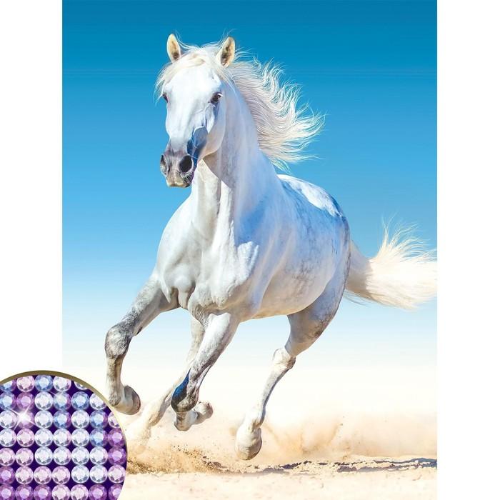 """Алмазная вышивка с частичным заполнением """"Белый конь"""", 30 х 40 см"""