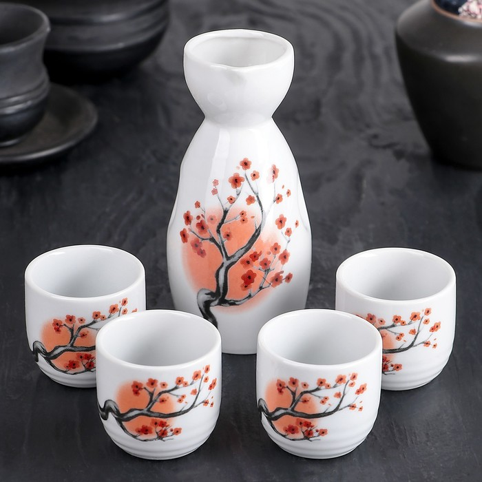 "Набор для сакэ ""Дерево сакуры"", 5 предметов: кувшин 180 мл, чашки 50 мл"
