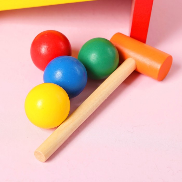 """Стучалка """"Горка"""" с 4 шариками, спуском и молоточком"""