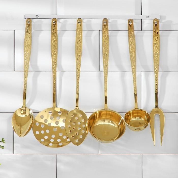 Набор кухонных принадлежностей «Уралочка», 6 предметов, с полным декоративным покрытием, толщина 2,5 мм, на подвесе