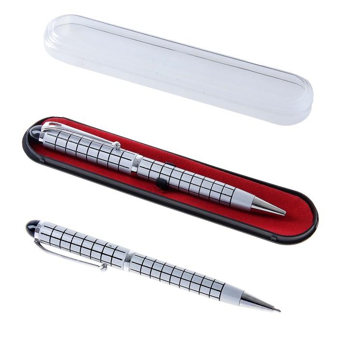 """Ballpoint pen gift in a plastic case swivel """"Tartan"""" silver"""