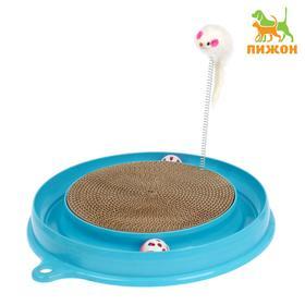 Игровой комплекс для кошек с гофрокогтеточкой, мышью на пружине и 2 шариками, микс