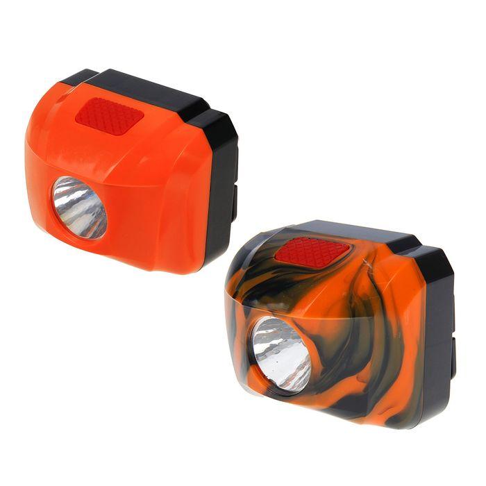 Фонарик налобный LP-302 без ремня, 1 LED, 1 режим, микс, 6.5х9.5 см