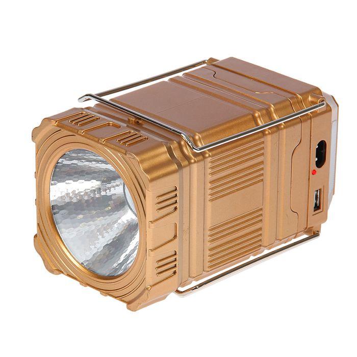 Фонарь кемпинговый, аккумуляторный, раздвижной, 2 типа освещения, 2 LED, 3 режима, 10х18 см