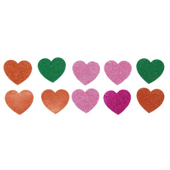 "Наклейки мягкие с блёстками ""Сердца"", набор 10 шт"