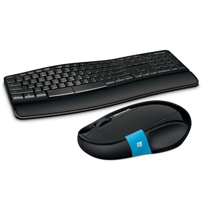 Комплект клавиатура и мышь Microsoft L3V-00017, беспроводной, мембранный, USB, черный