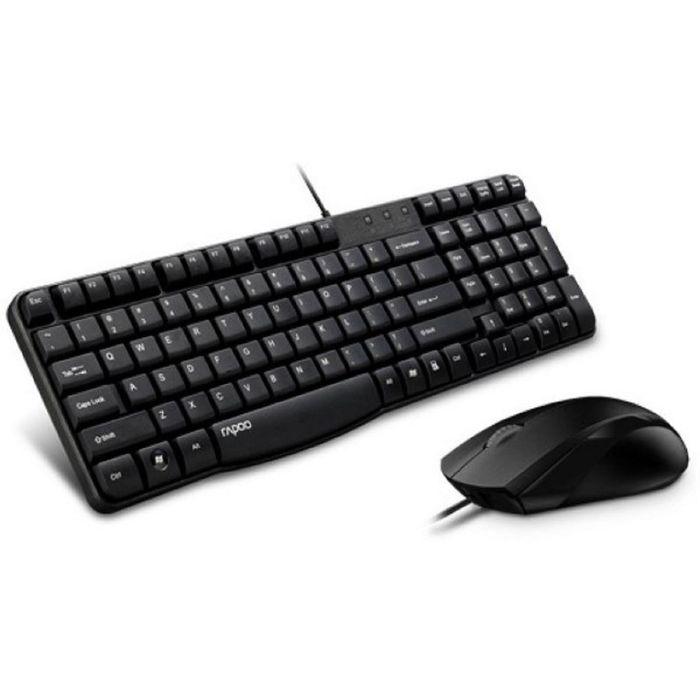 Комплект клавиатура и мышь Rapoo N1850, проводной, мембранный, 1000 dpi, USB 2.0,  черный