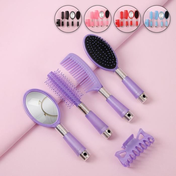Набор 5 предметов: расчёска с ручкой, расчёска массажная, брашинг, краб, зеркало, 20см, цвет МИКС