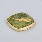 Зеркало из змеевика с одной стороны с ящеркой, золото, окр квадрат 7 см