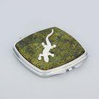 Зеркало из змеевика с одной стороны с ящеркой, серебро, окр квадрат 7 см