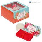 """Набор в подарочной коробке """"Любви и счастья!"""": морская соль 150 г (роза), бурлящий шар (ваниль), полотенце (20х20)"""