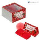 "Набор в подарочной коробке ""Я тебя люблю!"": морская соль 150 г (роза), бурлящий шар (клубника), полотенце (20х20)"
