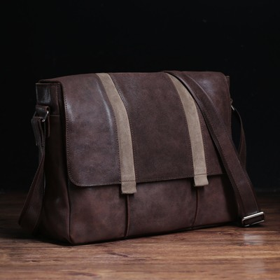 Сумка мужская, 1 отдел, 2 наружных кармана, длинный ремень, цвет коричневый