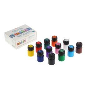 Краска акриловая, набор 12 цветов х 20 мл, Decola, Shine глянцевые