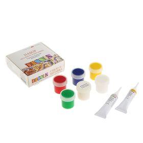 Набор красок по стеклу и керамике Decola: 5 цветов х 20 мл, 2 контура х 18 мл, разбавитель