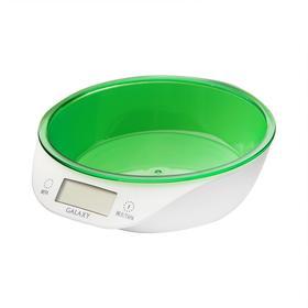 Весы кухонные Galaxy GL 2804, электронные, до 5 кг, LCD-дисплей, бело-зелёные