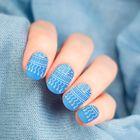 Слайдер-дизайн для ногтей, водный, цвет сине-белый
