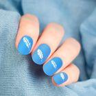 """Слайдер-дизайн для ногтей """"Пёрышки"""", водный, цвет белый/синий"""