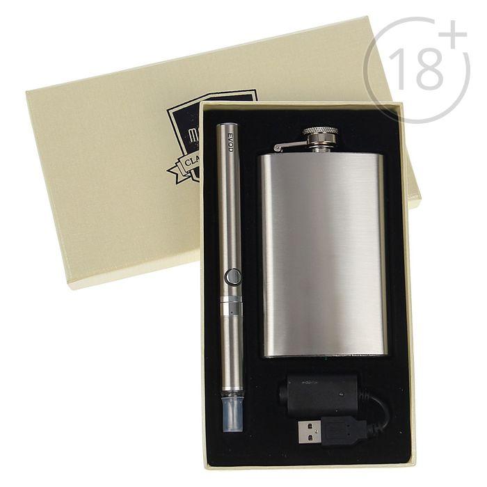 Набор подарочный 2в1в карт.коробке(фляжка 5oz+электронный испаритель 650 mAh,EVOD)11,5*19,5см