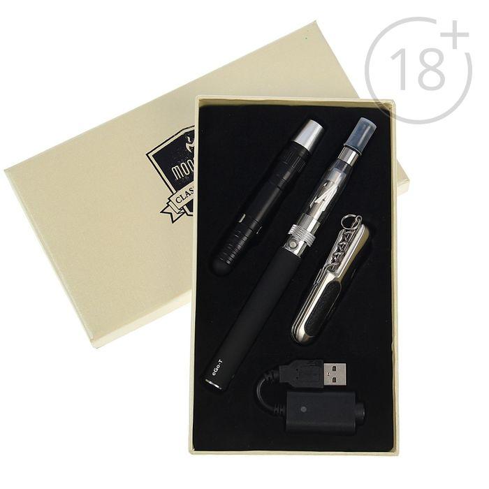 Набор подарочный 3в1в карт.коробке (нож+электронный испаритель 650 mAh Ego-T+фонарь) черный 11,5*19,