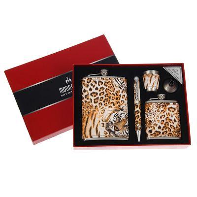 """Подарочный набор """"Леопард"""" 5 в 1: фляжки 270 и 90 мл, воронка, ручка, рюмка, 24х18 см"""