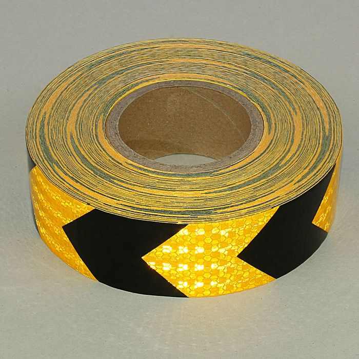 Светоотражающая контурная клейкая лента, желтая с пунктиром, 5 см х 45 м