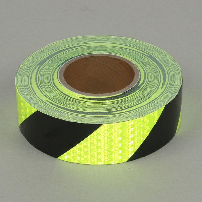 Светоотражающая контурная клейкая лента, салатовая с пунктиром, 5 см х 45 м