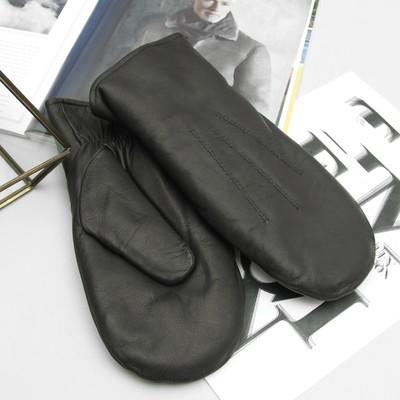 Рукавицы мужские, материал - козлина, подклад - шерстяной начёс на трикотажной основе, р-р 25, цвет чёрный