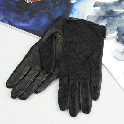Перчатки женские, комбинированные, без подклада, комбинированные, р-р 16, цвет чёрный
