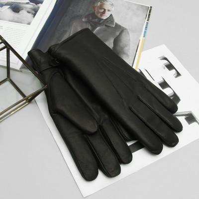 Перчатки мужские, кожа козы, подклад шерсть, р-р 25, цвет чёрный