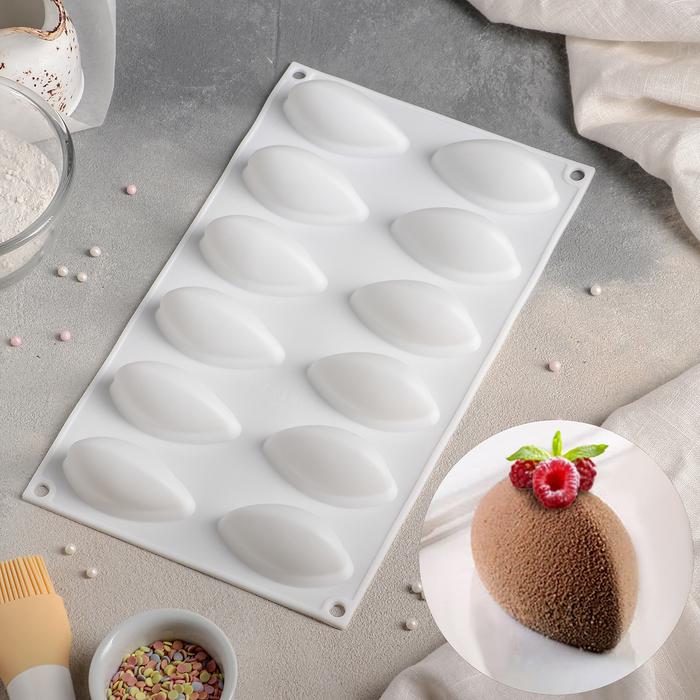 Форма для муссовых десертов и выпечки «Джасти», 12 ячеек (7×3,5×3 см), 30×18 см, цвет белый